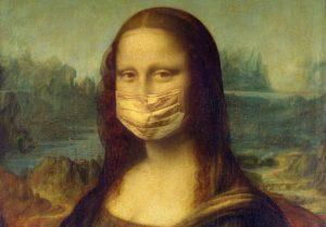 mona lisa wearing face mask