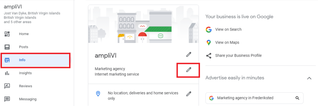 sample Google My Business listing