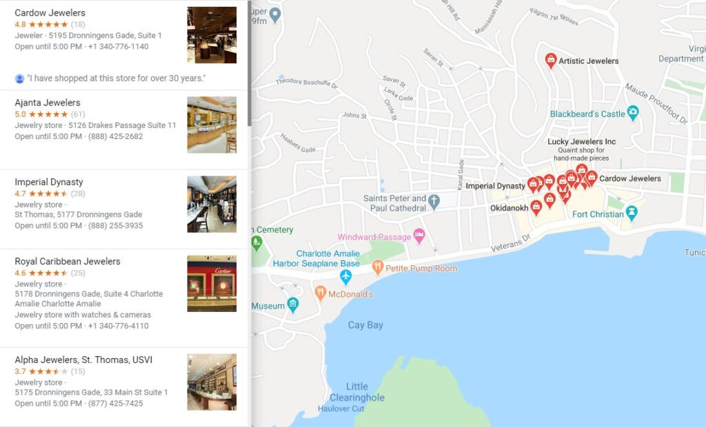 Google map results for jewelry stores in St. Thomas, USVI